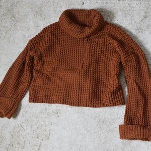 SHEIN Waffle Weave Turtleneck Sweater